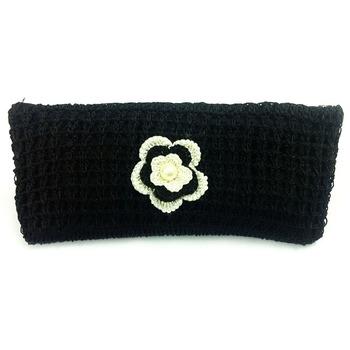 Crochet Clutch with Motif in Black