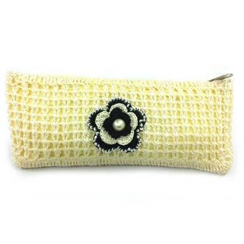 Crochet Clutch with Motif in Half White