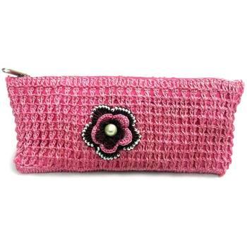 Crochet Clutch with Motif in Pink