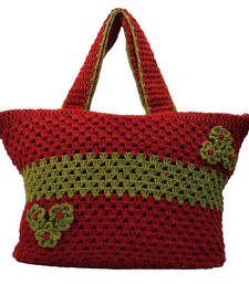 Buy Six Flower Crochet Handbag | Maroon handbag online