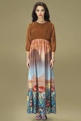 Brown and Multi Colour Georgette Chiffon Gown Style Tunic