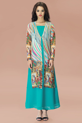 Aqua Georgette Tunic with Multi Colour Chiffon Jacket