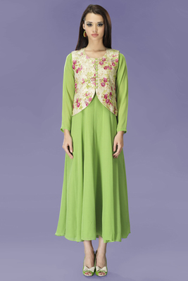 Green Chiffon Anarkali Style Tunic with Jacket