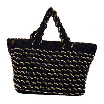 Sequins Crochet Small Handbag | Navy Blue