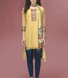 Yellow Chiffon 3/4 Sleeves tunic