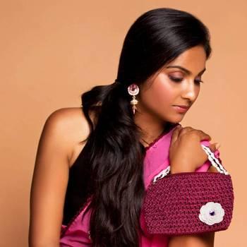 One Flower Crochet Clutch | Purple