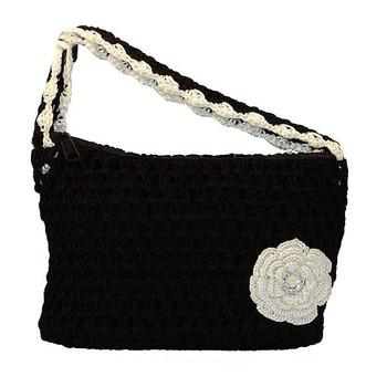 One Flower Crochet Clutch   Black