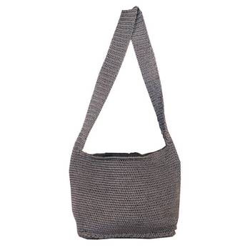 Ajar Crochet Shoulder Handbag | Ash Grey