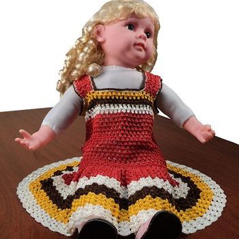 Princess Frilly Crochet Frock | 0-12 months | Peach