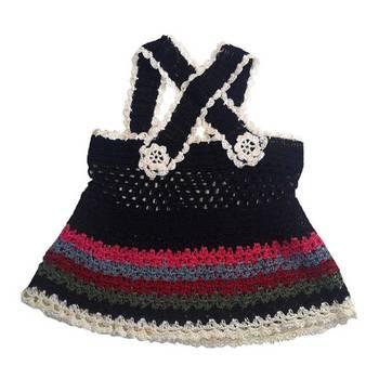 Cross Strap Crochet Frock | 0-8 months | Black
