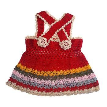Cross Strap Crochet Frock | 0-8 months | Red