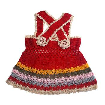 Cross Strap Crochet Frock   0-8 months   Red