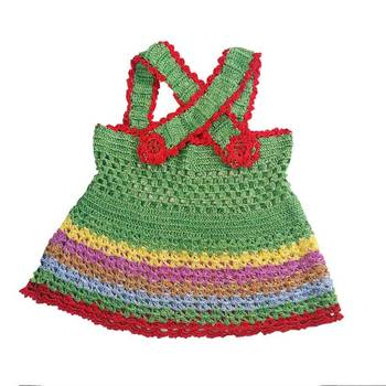 Cross Strap Crochet Frock | 0-8 months | Green