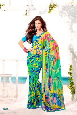 Elegant Carsa Saree with Jacquard Blouse Designer Print With Blouse Piece D.No 6003A