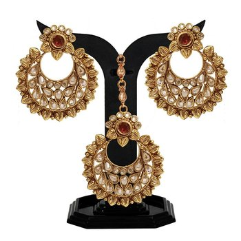d01519a566 Designer Gold Chandbali Earring & Antique Maang Tikka Red Polki With Drop  Stone Earring set - Satyam Jewellery NX - 681998
