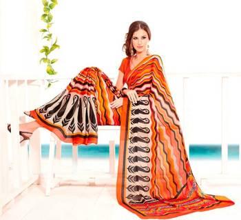 Elegant Satin Chiffon Saree Designer Print With Blouse Piece D.No 6010A