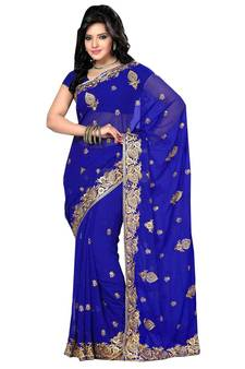 39830a934d5bf Dark blue embroidered georgette saree with blouse