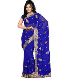 Buy Dark blue embroidered georgette saree with blouse heavy-work-saree online