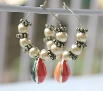 Enamel bead hoop earring
