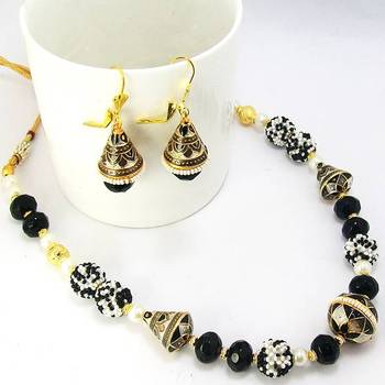 Meenakari Traditional Mala Silver Black