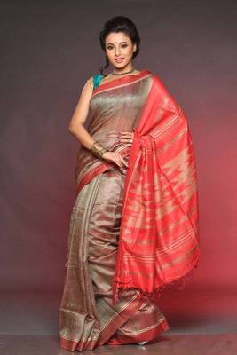 Hand Woven Tusser Silk Saree ECO STREE
