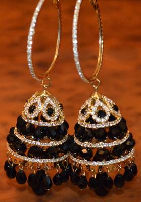 Jhumkas along with bali in black