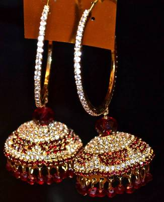 Jhumkas along with bali in Maroon