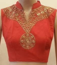 Red chanderi silk handwork blouse