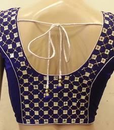 Royal blue mirrorwork blouse