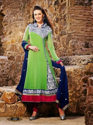 Georgeous Pista Green & Blue Designer Anarkali Suit