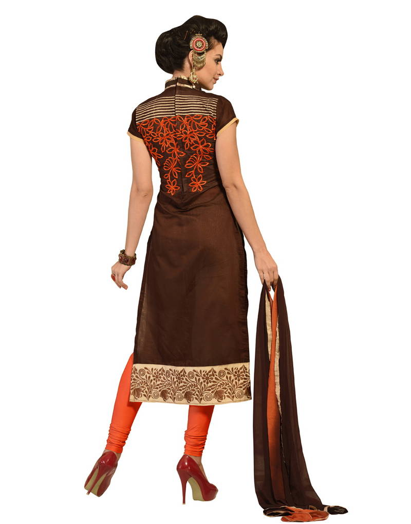 Buy brown embroidered chanderi unstitched dress material