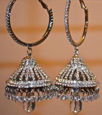 Jhumkas made with Cystal and Diamonds