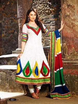 Scintillating Attractive Off White With Georgette Shiffli Anarkali Suit