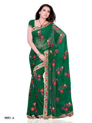 Lara Dutta Style Designer Saree made from Chiffon Fabric by Diva Fashion, Surat