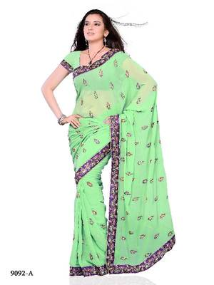 Parineeti Chopra Style Designer Saree made from Georgette by Diva Fashion, Surat