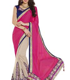 Buy Cream Embroidered Net , Satin Saree With Blouse net-saree online