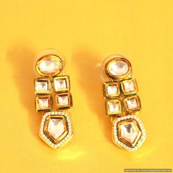 Kundan Meenakari Zircon Earrings