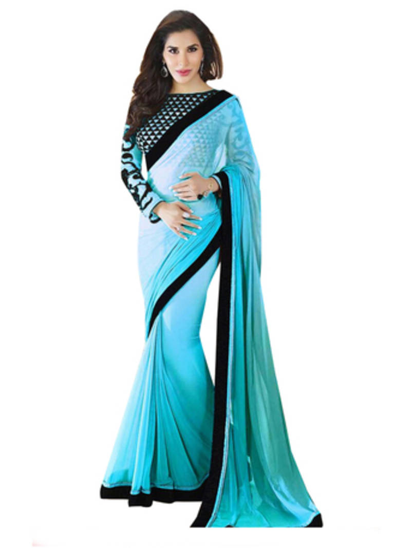 9dab45eff08e23 Silver Blouse With Blue Saree