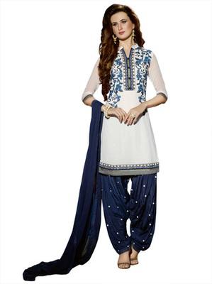 White Pure Georgette Unstitched  Patiala Salwar Suit