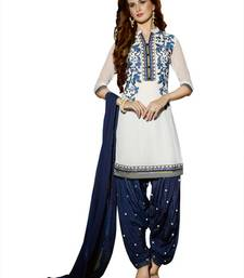 Buy White Pure Georgette Unstitched  Patiala Salwar Suit patiala-salwar online