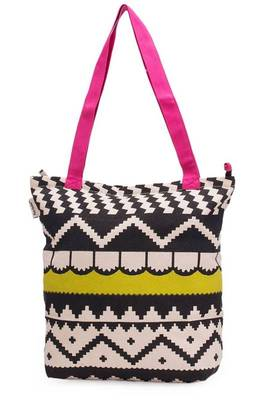 Accrue, lime green and pink tote