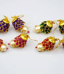Buy Wholesale pack of pachhi jhumka with kundan pearl drop jhumka online