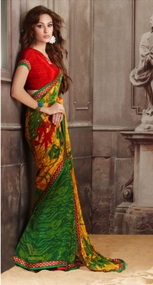 ISHIN Georgette Multicolor Saree BCTN-780