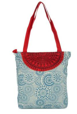Accrue blue and red Tote with semicircle