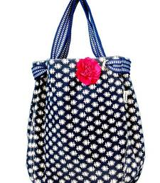 Buy Denim Blue joli with a Pink floral Broach potli-bag online