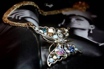 Glittering Butterfly  Necklace with crystals
