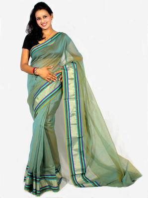 Supernet Cotton Stripe Zari Border Saree