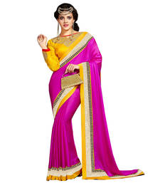 Buy Pink and Yellow embroidered satin saree with blouse satin-saree online