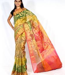 Buy Organza Stripe multi zari border patola saree organza-saree online