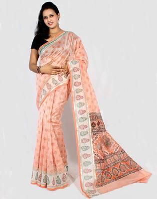 Chanderi fancy printed Aanchal Border saree